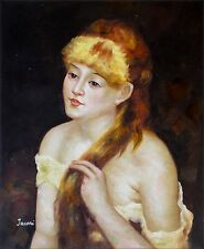 Renoir Young Woman Braiding Her Hair Repro, Hand Painted Oil Painting 20x24in