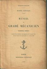 Manuel du gradé mécanicien 1922 MARINE NATIONALE Mécanique Bateau Motor Boat