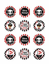 PIRATE BIRTHDAY Edible Cupcake Image Frosting Sheet Cookie Toppers PERSONALIZED!