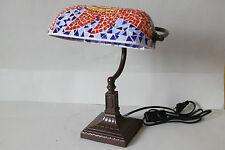 Lampe Tischlampe Bankerlampe Mosaikschirm Mosaik Glas