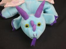 BLUE PINK FLYING DRAGON HAND BODY PUPPET LONGTAIL SPARKLY WINGS PLUSH STUFFED