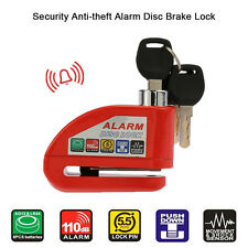 Motorcycle Scooter Disc Brake Lock Security Anti-theft Alarm Lock Red Silver