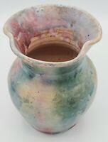 "Vintage Appalachian Folk Art Vase Pink Blue Green 6"" Drip Glaze Red Clay Pottery"