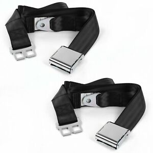 Early Cars 1935 - 1940 Airplane 2pt Black Lap Bucket Seat Belt Kit - 2 Belts