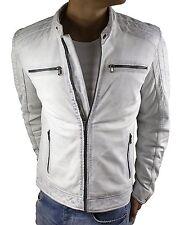 Herren-Lederjacke-Leather-Biker-Jacket-slimfit-Vintage-Weiss-Echt-Nappa-Gr.S-3XL