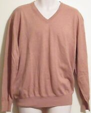 Mens Orvis V Neck Sweater Brown Size Large Pullover Cotton Cashmere