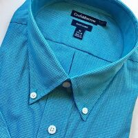 Mens Croft & Barrow Blue Plaid Short Sleeved Dress Shirt NWT Casual