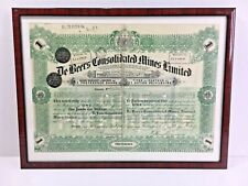 More details for framed 1926 share warrant certificate de beers consolidated mines limited
