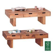 FineBuy Couchtisch Massivholz Wohnzimmer-Tisch 110 x 60cm 6 Schubladen Landhaus