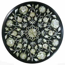 "12"" Black Round Marble coffee Table Top Inlay Work Handicraft Home Decor Garden"
