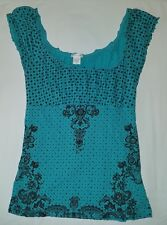 Womens maurices teal/brown floral baby doll shirt sz s