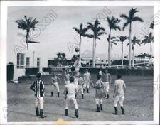 1945 Gulfstream Park Jockey Limber Up with Volley Ball Game Press Photo