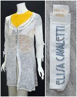 Womens Elisa Cavaletti Long Cardigan Jumper Knit Grey Blue Size M