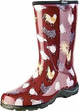 Sloggers Women's Rain&Garden Chicken Print Collection Garden Boots, Sz9,BarnRed