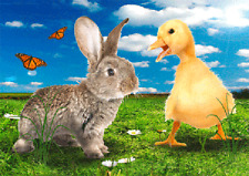 Happy Easter - Bunny and Chick 3D and Action Easter Post Card Lenticular