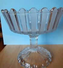 """1870s EAPG Pattern  Bakewell Frosted Ribbon Rebecca/ Well 7.5"""" Open Compote"""