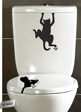 Scared Cat Angry Mouse Rat Funny Stickers Decal Toilet Seat WC Wall Fridge Car