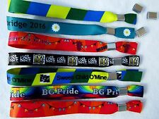 300 Personalised Fabric Wristbands,Printed with Your Image or Text,Metal Clip