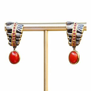 Natural Red Coral S925 Sterling Silver w/Zircon Elegant Retro Earring Dangle AS4