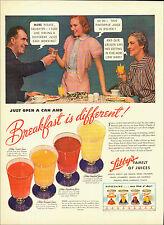 1940 vintage beverage AD LIBBY'S Canned Fruit Juices Breakfast Drink  010315