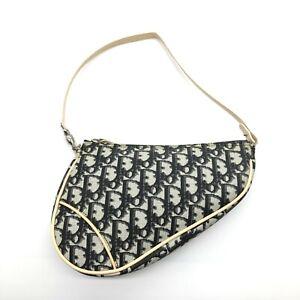 Christian Dior Vintage Saddle Shoulder Bag Trotter Logos Black PVC Authentic