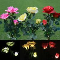 Solar Power Flower LED Light Rose3Garden Stake PathYard Patio Landscape Lamp new
