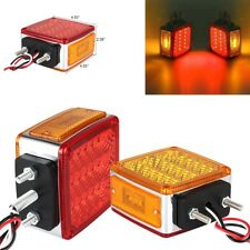 2pcs  Square Dual Face Stud Mount Pedestal Cab Fender Turn Signal Light 36+3 LED