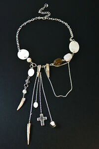 UNIQUE STATEMENT SILVER NECKLACE  CHARMS/STONES/PEARLS/CROSSES NEW (ZX8)