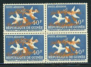 GUINEA Space Specialized: Scott #C35 40Fr Double ORANGE OVPT Block of 4 $$$