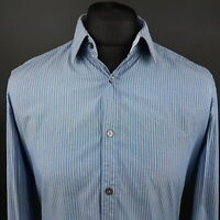 HUGO BOSS Mens Shirt MEDIUM Long Sleeve Blue SLIM FIT Striped Cotton