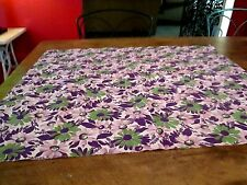 FABRIC, VINTAGE SWATCH DAISIES IN GREENS, PURPLES, BEIGES  COTTON 1940'S