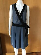 Basque-Black Silk Dress-Size 18