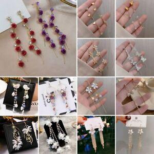 925 Sliver Daisy Flower Tassel Butterfly Earrings 2021 Women CZ Weddings Jewelry