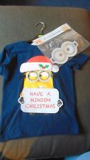 George 100%Cotton Build Your Own Minions Christmas Top 4-5y 110cm Navy Mix BNWT