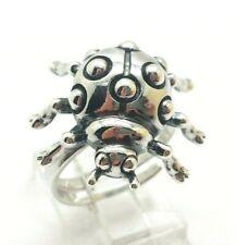 Fine Ladybug Design Cute Sterling Silver 925 Ring 7g Sz.8 KWD317a