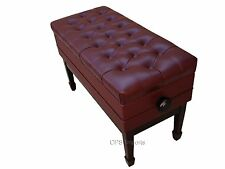 Duet GENUINE LEATHER Mahogany Adjustable Concert Piano Bench