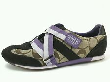 COACH LOGO JULI Women's  Shoes Sneakers US 6 M EU 37.5 Brown Tan Purple Velcro