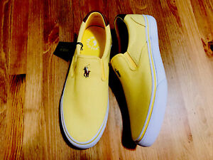 Ralph Lauren Polo Thompson slip on fabric/leather shoes yellow NWOB size 10.5