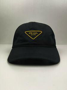 Prada Nylon Technical Baseball Cap Hat Yellow Logo Black One Size