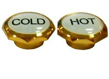 2x 5mm Gold Hot Cold Water Tap Label Buttons Caps Screw Top Kitchen Bathroom