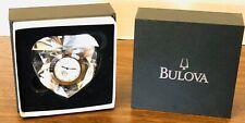 NIB Bulova  Heart Shape Crystal Paperweight Desktop Mantel Clock