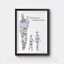 Personalised Dad Daddy and Daughter Sons A4 Word Art Print Fathers Day Gift