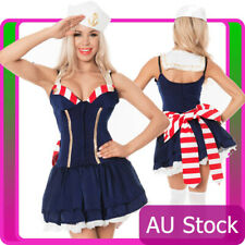 Ladies Sailor Navy Uniform Pin Up Costume Sexy Moon Halloween Fancy Dress Hat