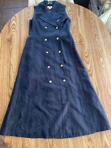 Talbots Irish Linen Double Breasted Button Front Safari Shirt Dress Navy Sz 8
