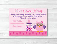 "Pink & Purple Owl Baby Shower ""Guess How Many?"" Game Cards Printable"