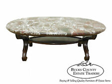 Custom Vintage Solid Mahogany Regency Style Marble Top Coffee Table