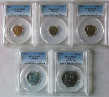 Malaysia set of 5 coins 1967 (1+5+10+20+50 sen) PCGS MS64-MS67