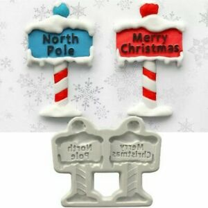 Silicone Merry Christmas North Pole Chocolate Sugarcraft Mould DIY Clay Resin