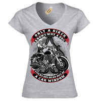Only A Biker T-Shirt funny motorcycle motorbike Womens Ladies V-Neck