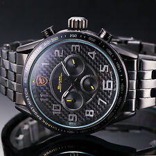 SHARK Army Black Yellow Dial Stainless Steel Date Day Luxury Mens Sport Watch